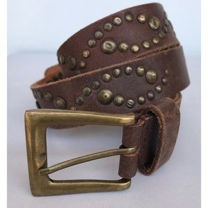 Genuine leather studded belt